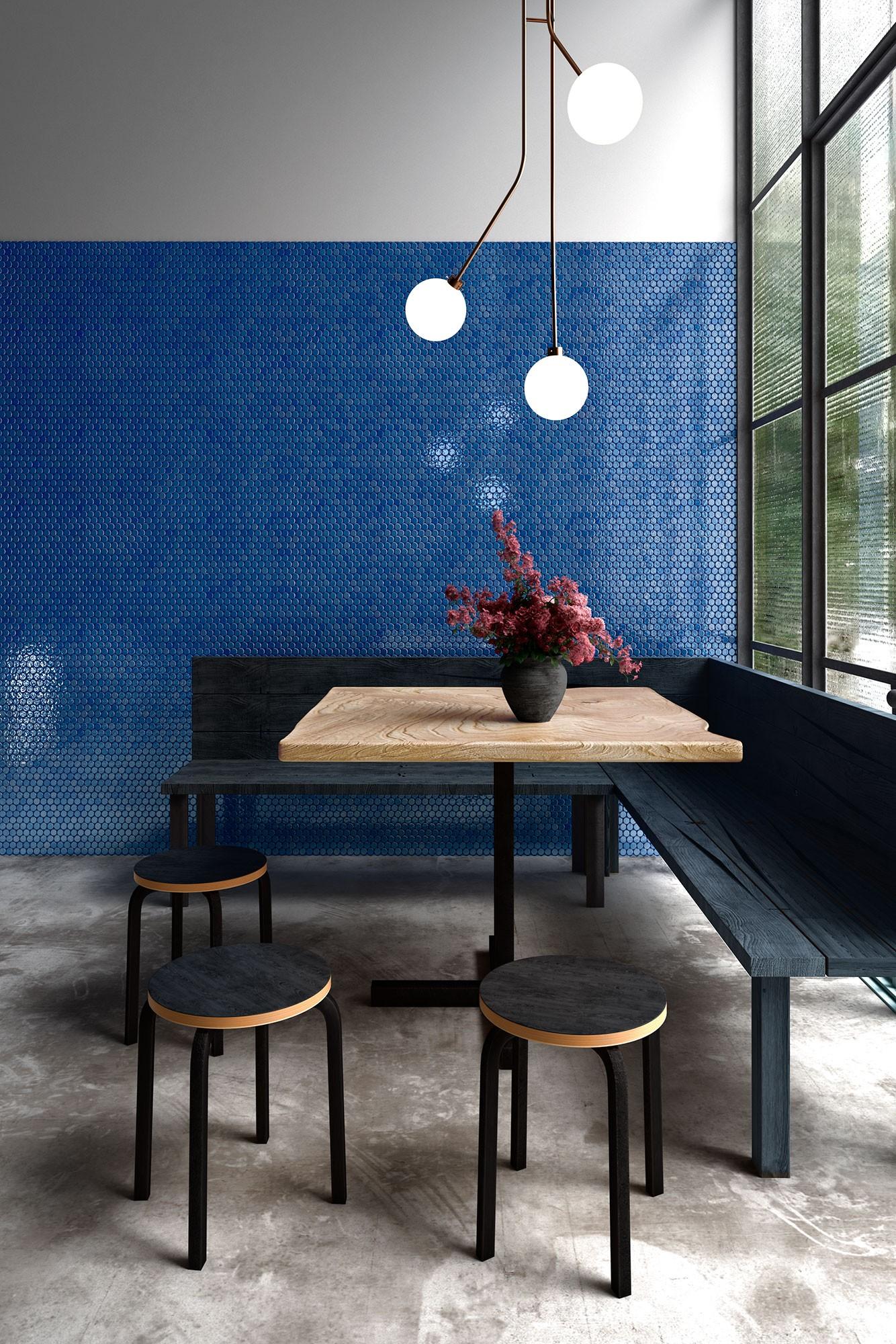 Circle Dark Blue Final - Mosaico Decorativo: Tendencia Para Baños Y Cocinas 2021 - Decoración